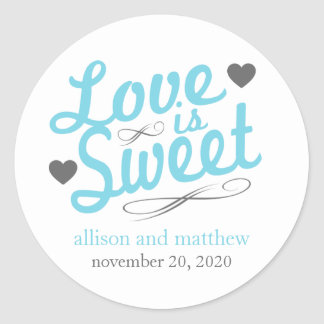 Love Is Sweet Old Fashioined Labels (Blue / Gray) Round Sticker