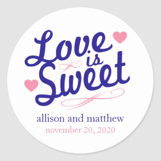 Love Is Sweet Old Fashioined Labels (Blue / Pink) Classic Round Sticker