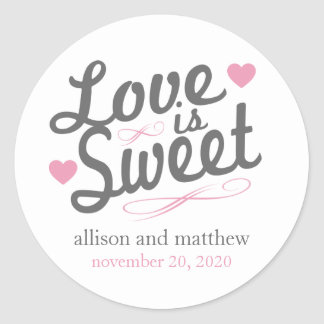 Love Is Sweet Old Fashioined Labels (Gray / Pink) Round Sticker