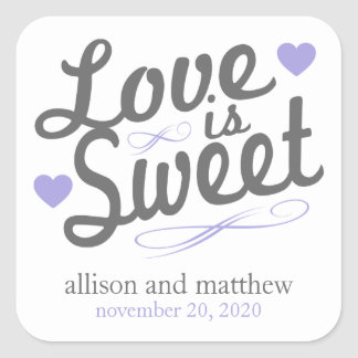 Love Is Sweet Old Fashioined Labels (Gray/Purple) Square Sticker