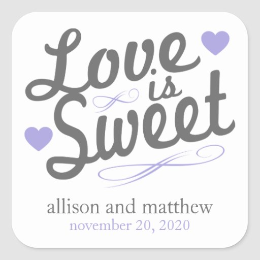 Love Is Sweet Old Fashioined Labels (Gray/Purple) Square Stickers