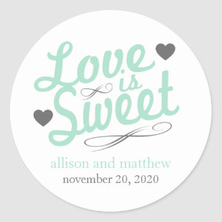 Love Is Sweet Old Fashioined Labels (Mint / Gray) Round Sticker