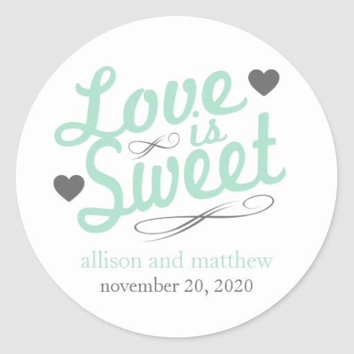 Love Is Sweet Old Fashioined Labels (Mint / Gray) Sticker