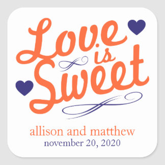 Love Is Sweet Old Fashioined Labels (Orange/Blue) Square Sticker