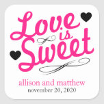 Love Is Sweet Old Fashioined Labels (Pink / Black) Square Stickers