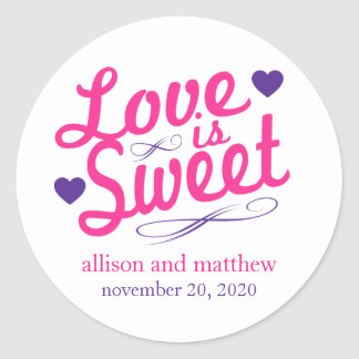 Love Is Sweet Old Fashioined Labels (Pink/Purple) Classic Round Sticker