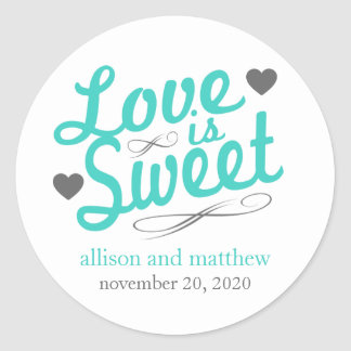Love Is Sweet Old Fashioined Labels (Teal / Gray) Round Sticker
