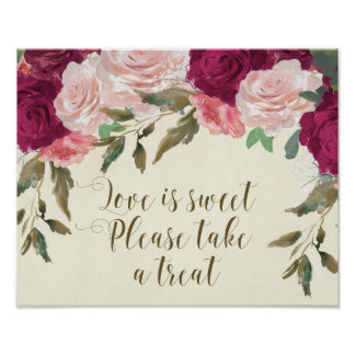 love is sweet please take a treat wedding sign poster