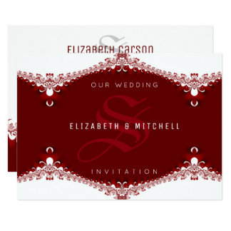 Love is Sweet Red+White Lace Monogram Wedding Card