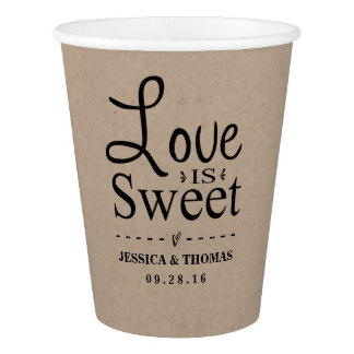 Love Is Sweet! Rustic Kraft Custom Wedding Paper Cup