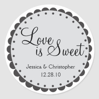 Love is Sweet - Scalloped Edge - Personlize Round Sticker