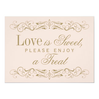 Love is Sweet Sign | Antique Gold Flourish Card