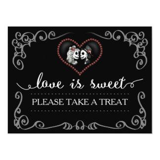 Love is Sweet Take a Treat Halloween Skeleton Sign Card