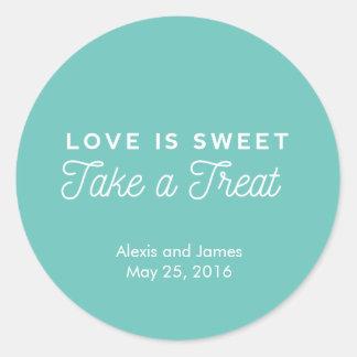 Love is sweet take a treat sticker