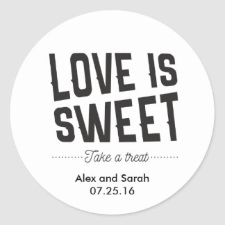 Love is sweet take a treat sticker