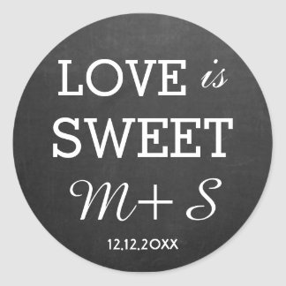 Love Is Sweet Wedding Favours Chalkboard Monogram Round Sticker