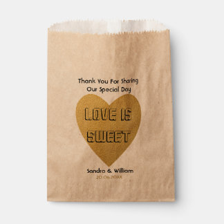 Love Is Sweet Wedding Thank You Gold Heart Favour Bags