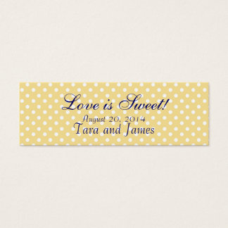 Love is Sweet Yellow Dots Wedding Favor Tag Cards