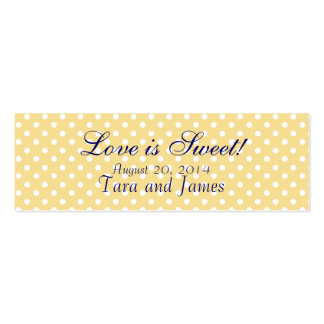 Love is Sweet Yellow Dots Wedding Favor Tag Cards Business Card Template