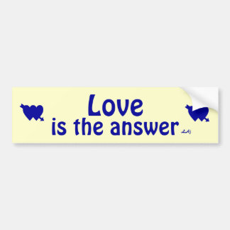 Love is the Answer Blue Yellow Bumper Sticker