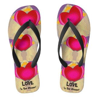 LOVE is the answer Cute Hearts Flip Flops