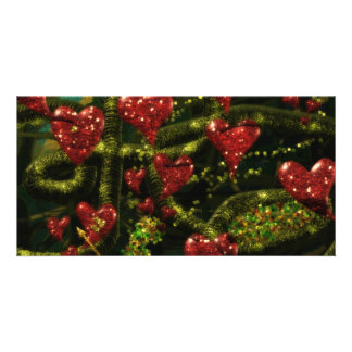 Love is Weird - Red Hearts on Strange Abstract Photo Card