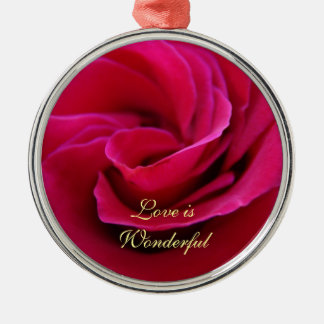 Love is Wonderful Pink Rose Ornaments