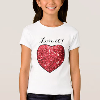 Love it Glitter Red Heart Print Tee Shirts