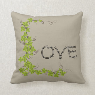 Love ivy Green Throw pillow taupe