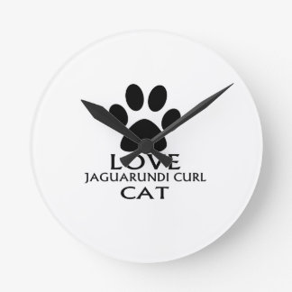 LOVE JAGUARUNDI CURL CAT DESIGNS ROUND CLOCK