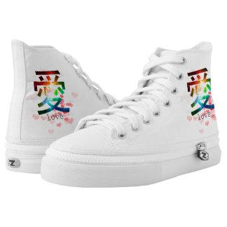 Love japanese word colorful katakana japan printed shoes