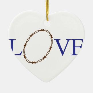 Love Jesus Ceramic Heart Decoration