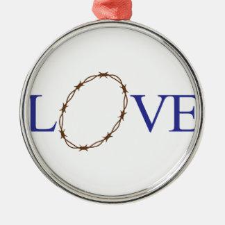 Love Jesus Silver-Colored Round Decoration