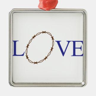 Love Jesus Silver-Colored Square Decoration