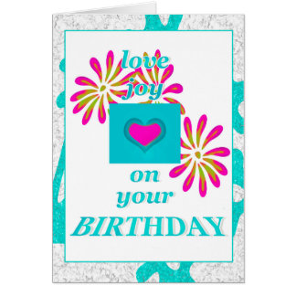 Love Joy,Aqua Pink Birthday Greeting Card