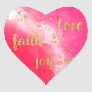 Love Joy Faith Watercolor Gold Confetti Heart Sticker