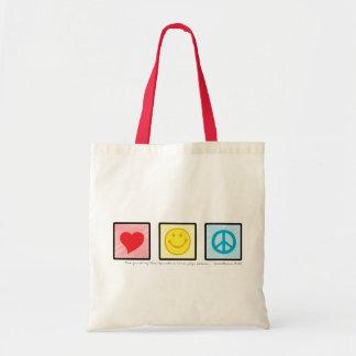 Love Joy Peace cloth tote bag