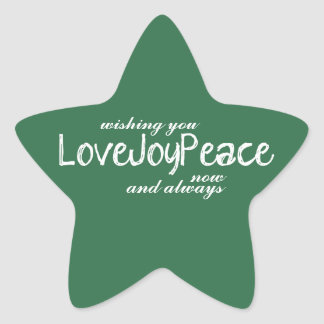 Love Joy Peace Green Holiday Greeting Star Sticker