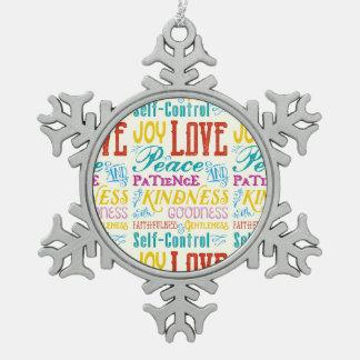 Love Joy Peace Kindness Goodness Typography Art Pewter Snowflake Decoration
