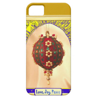 Love, Joy, peace red bauble Barely There iPhone 5 Case