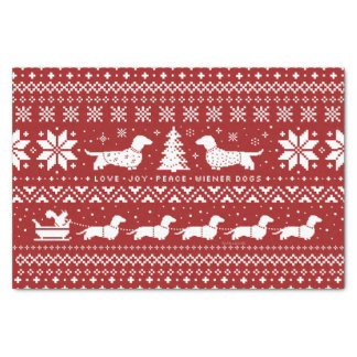 Love Joy Peace Wiener Dogs Christmas Pattern Tissue Paper