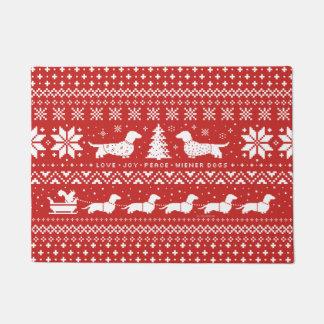 Love Joy Peace Wiener Dogs | Dachshunds Christmas Doormat