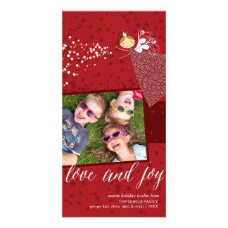 Love & Joy Snowflakes Christmas Fairy Holiday Card Photo Cards