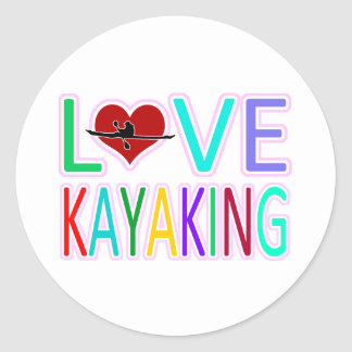 Love Kayaking Classic Round Sticker