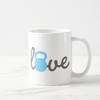 Love Kettlebell Blue Basic White Mug