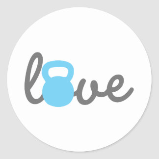 Love Kettlebell Blue Classic Round Sticker