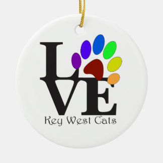 LOVE Key West Cats Ceramic Ornament