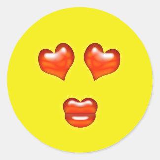 Love Kiss Emoji Classic Round Sticker