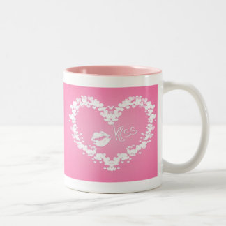 love kiss on pink background Two-Tone coffee mug