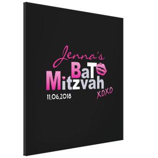 LOVE & KISSES Hot Pink Bat Mitzvah Sign-In Board Canvas Print